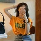 背心夏季韓版圓領字母印花桔色無袖t恤女百搭寬鬆上衣【時尚大衣櫥】