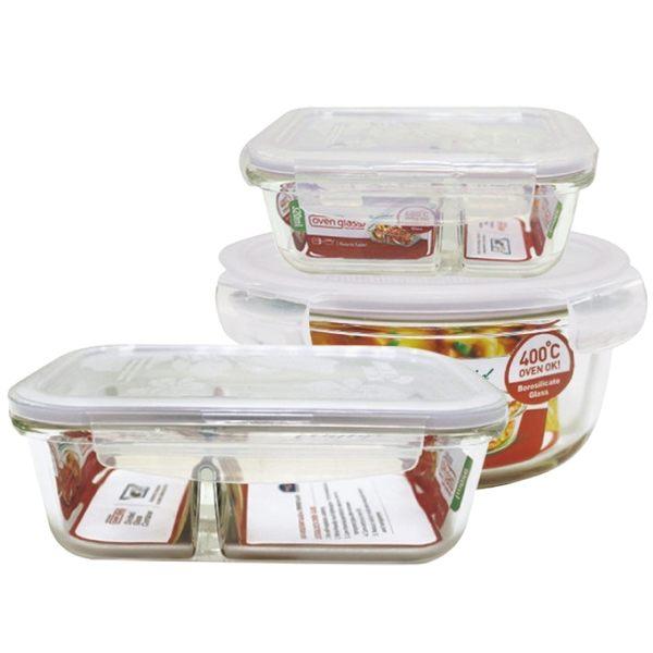樂扣樂扣耐熱分隔玻璃保鮮盒美味便當盒三件組野餐盒-大廚師百貨