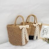 草編包ins女網紅斜跨單肩沙灘度假包包編織小清新手提大容量草包 雙十二特惠