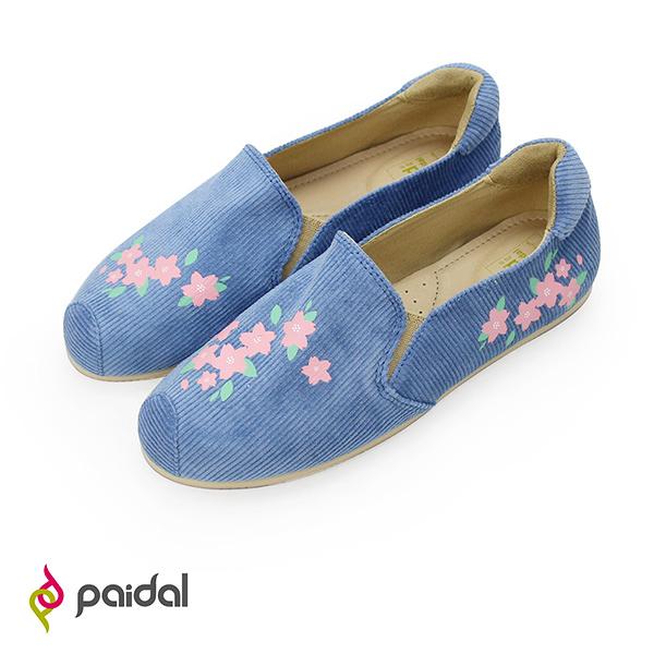 Paidal 粉櫻風中花直紋絨懶人鞋樂福鞋休閒鞋