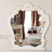 化妝鏡 梳妝鏡 雕花梳妝鏡壁掛鏡子 浴室鏡歐式裝飾美容院鏡子 【快速出貨好康八折】