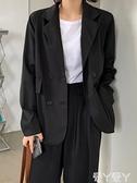 休閒外套 網紅小個子西裝外套女英倫風秋季韓版黑色氣質短款設計感休閒西服 愛丫 交換禮物