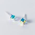 925純銀 方形方糖方塊 施華洛水晶元素 耳環耳釘針-銀 防抗過敏