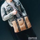 韓版潮男包包公文包商務式手提包斜背包單肩斜跨帆布男士休閒包袋  朵拉朵衣櫥