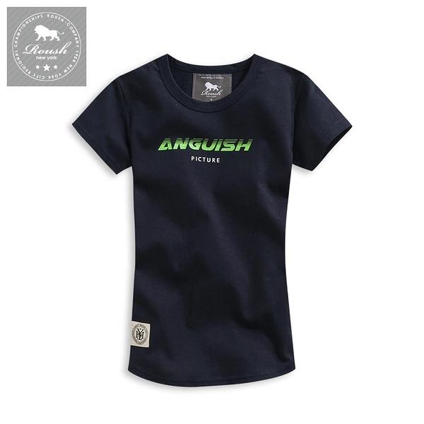 【Roush】 女生ANGUISH字體圓弧短TEE -【2010236】