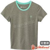 Wildland 荒野 0A61662-91淺灰色 中童雙色圓領排汗上衣 抗UV/輕柔透氣/吸濕快乾/休閒上衣/親子裝