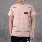PUMA FUSION 粉橘 蘋果綠 黑 條紋 黑logo 短袖 棉 短T 男(布魯克林) 58268470