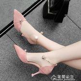小清新高跟鞋春季新款女涼鞋少女公主細跟百搭韓版學生黑色夏   花間公主