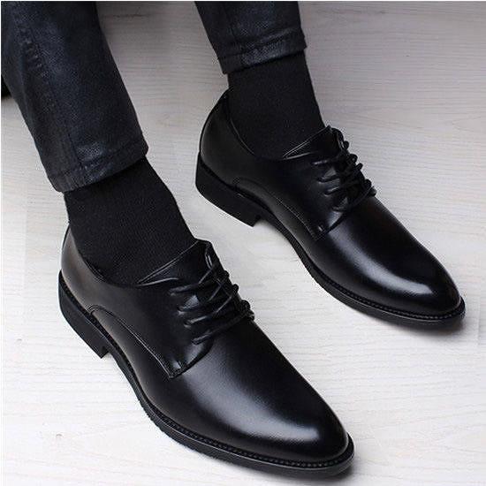 皮鞋 韓版內青年系帶男士皮鞋英倫休閒商務正裝尖頭婚鞋男鞋子 【618 大促】