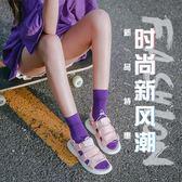 堆堆襪女夏季襪子女中筒襪正韓學院風百搭薄款棉韓國風紫色 聖誕節好康熱銷