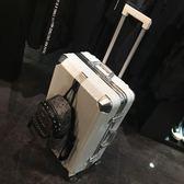 復古行李箱萬向輪女鋁框拉桿箱密碼箱旅行箱2