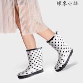 女士雨鞋女中筒成人水靴