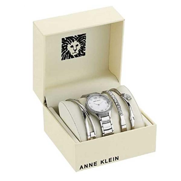 Anne Klein 施華洛世奇水晶手錶和手鍊套裝 AK/3580 SVST 銀 Swarovski Crystal Accented Bracelet Watch [9美國直購]
