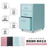 預購【品質嚴選】全鋼板移動式3抽附輪腳抽屜櫃/公文櫃/活動櫃(DIY)粉藍
