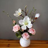 仿真玫瑰花套裝客廳餐桌假花盆栽 伊人閣