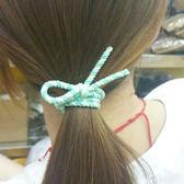彈性髮圈 髮飾 髮束 高彈力 髮圈 髮繩 手繩 韓版 飾品 女孩 撞色打結髮圈(1入)【Z223】慢思行