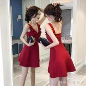 紅色露背洋裝女衣服韓版顯瘦荷葉邊v領夜店女裝性感「千千女鞋」