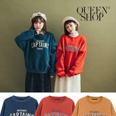 Queen Shop【01110481】CAPTAINS字母內刷毛長袖大學T 三色售*現+預*