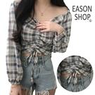 EASON SHOP(GW5293)韓版一字領撞色格紋短版露肚臍拉皺綁繩長袖襯衫女上衣服平口露肩顯瘦閨蜜裝