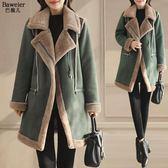 新款女冬季中長款棉服鹿皮絨外套女冬加厚羊羔毛絨棉衣