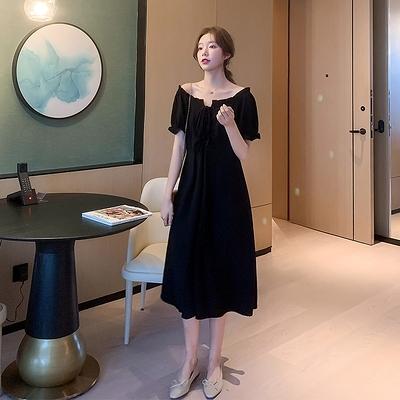 洋裝~9010# 新款大碼女裝氣質顯瘦小黑裙夏裝法式遮肚藏肉連身裙H352胖妞衣櫥