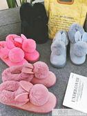 可愛厚底棉鞋女冬季加絨小短靴新款保暖居家毛毛絨雪地靴  韓慕精品