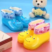 新款兒童加棉女雨鞋中筒小青蛙卡通保暖防滑舒適耐磨嬰兒男雨靴 居享優品
