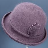 媽媽帽 女士秋冬天中老年媽媽毛線帽子冬季防寒加厚保暖老人奶奶兔毛棉帽【82折下殺】