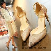 涼鞋/春夏季高跟女串珠尖頭銀色細跟單鞋「歐洲站」