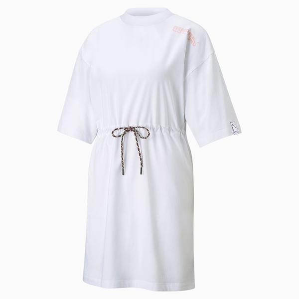 【現貨】PUMA INTL Game 女裝 短袖 長版 連身裙 純棉 修身 休閒 白 歐規【運動世界】59970402