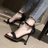 黑色性感細跟一字扣帶百搭露趾少女涼鞋 夜店舞臺表演高跟鞋