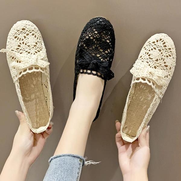 豆豆鞋 夏季網鞋透氣網面涼鞋布鞋孕婦軟底豆豆鞋平底單鞋女鞋-Ballet朵朵