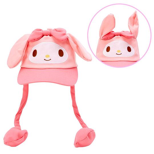 小禮堂 美樂蒂 造型耳朵動動玩偶帽 兔耳帽 鴨舌帽 老帽 遮陽帽 (粉白 大臉) 4550337-40906