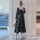 孕婦連衣裙春秋新款時尚韓版碎花中長款顯瘦遮肚子外出氣質孕婦裙快速出貨