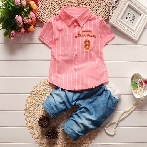 短袖套裝 立體字母 寶寶襯衫+牛仔短褲 嬰兒短袖上衣 寶寶童裝 CK7650 好娃娃