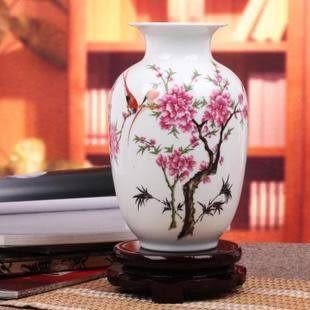 冬瓜水點桃花粉彩花瓶