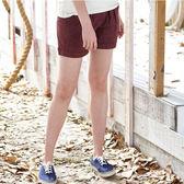 【JEEP】女裝 經典造型短褲-暗紅色