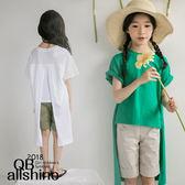 女童上衣 背部開剪前短後長短恤 韓國外貿中大童 QB allshine
