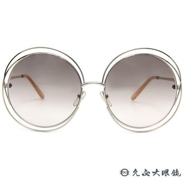 Chloe 墨鏡 CE114S 724 (金-透膚) 復古金屬圓框 太陽眼鏡 久必大眼鏡