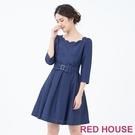 【RED HOUSE 蕾赫斯】素面花瓣領洋裝(共3色)