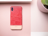 Alto iPhone Xs Max 真皮手機殼背蓋 6.5吋 Metro - 珊瑚紅/本色 【可加購客製雷雕】皮革保護套