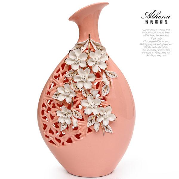 【雅典娜家飾】立體浮雕花卉粉紅鏤空花器-FB280