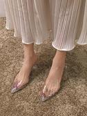 高跟涼鞋涼鞋女仙女風2020新款韓版百搭ins水鉆透明一字帶尖頭細跟高跟鞋 貝芙莉