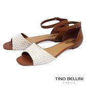 Tino Bellini巴西進口網格布料繫踝平底涼鞋_ 白 C73401 歐洲進口款