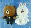 【震撼精品百貨】LINE FRIENDS_絨毛吊飾-熊大及兔兔(結婚組)