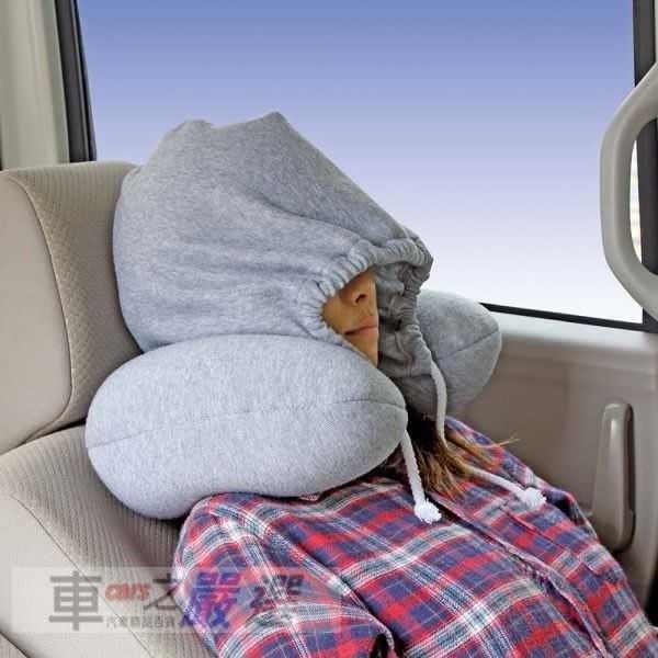 車之嚴選 cars_go 汽車用品【SD-7】日本 NAPOLEX 車用U型頸枕+舒眠帽蓋套 內容物保麗龍球 舒適柔軟