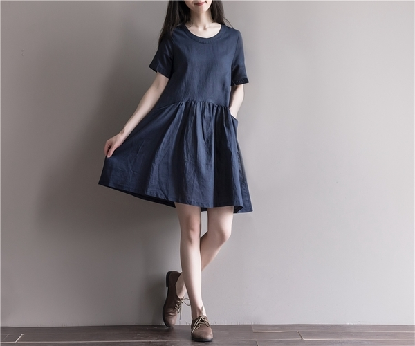東京奈奈日系連身裙短袖棉麻洋裝[j27081]