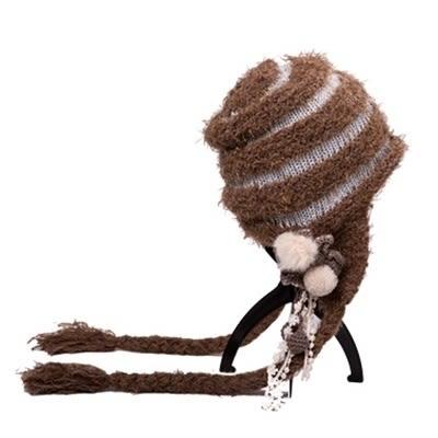 羊毛帽-韓版保暖毛球辮子女針織帽2色73id22【時尚巴黎】