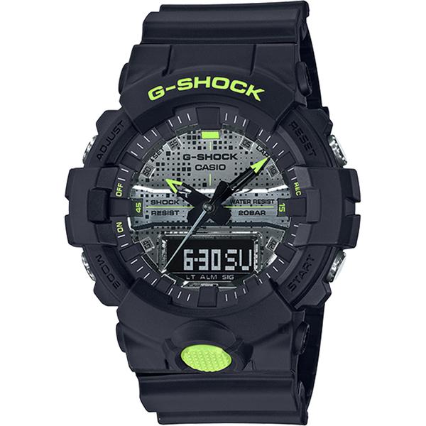 CASIO 卡西歐 G-SHOCK 點陣迷彩LED雙顯錶(GA-800DC-1A)
