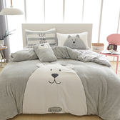 可愛大熊超柔暖法蘭絨床包4件組-雙人-灰